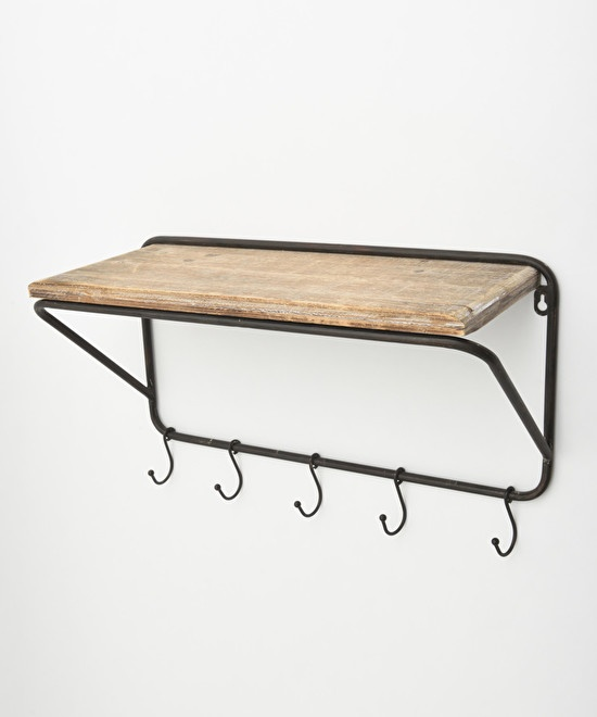 Wall shelf with hooks M